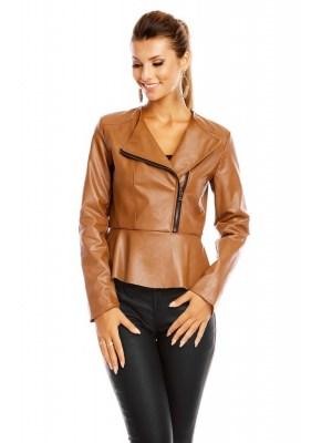 Jacheta din imitatie piele cu volanase la baza si inchidere cu fermoar de la jumatate in sus