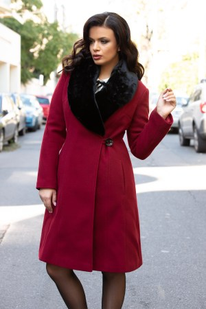Palton dama bordo lung cu guler negru din blana ecologica