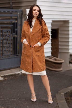 Palton dama drept caramel din material bucle