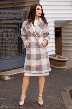 Palton dama drept cu imprimeu si guler lat