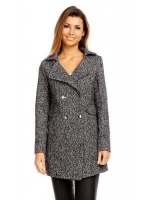Palton dama elegant cu guler usor inalt si buzunare
