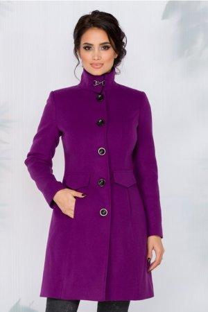 Palton dama elegant mov cu blanita la guler
