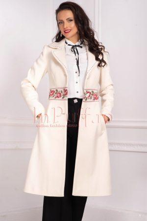 Palton dama matlasat ivoire din stofa cu insertii cu model floral