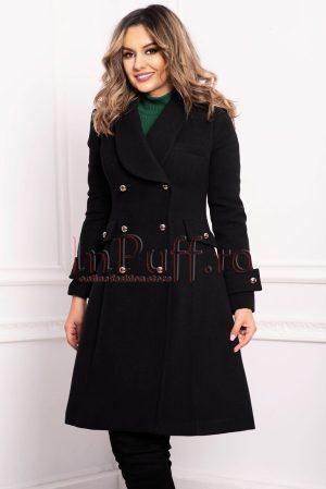 Palton dama negru trei sferturi croi A din stofa cu nasturi argintii