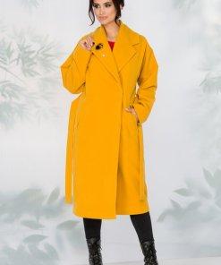 Palton galben elegant cu inchidere cu capsa ascunsa
