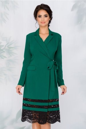 Rochie Eleganta verde petrecuta cu dantela la baza si decolteu petrecut