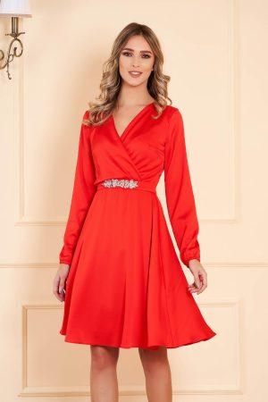 Rochie de ocazie rosie midi din voal cu decolteu in v cu maneci lungi