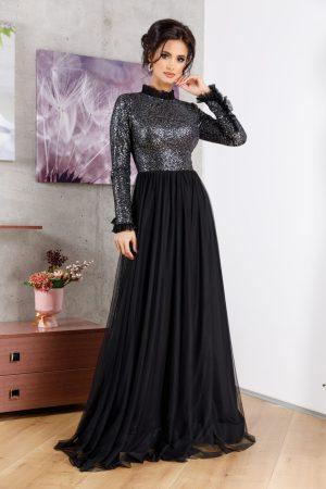 Rochie de seara lunga neagra eleganta cu fusta foarte ampla