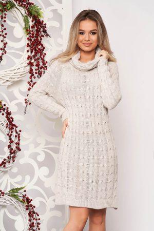 Rochie eleganta de zi crem midi material tricotat cu maneci lungi