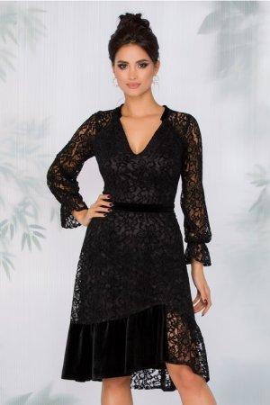 Rochie eleganta midi neagra cu decolteu in V din dantela catifelata