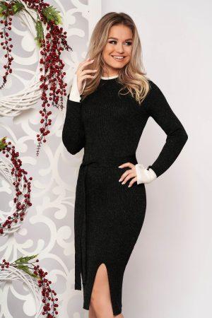 Rochie eleganta neagra midi tip creion din material tricotat