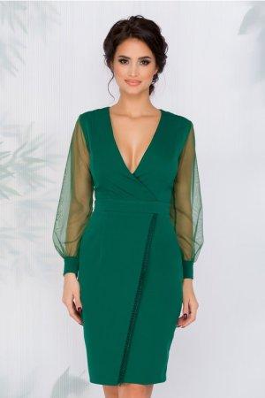Rochie eleganta verde cu design petrecut si maneci din tull si decolteu V