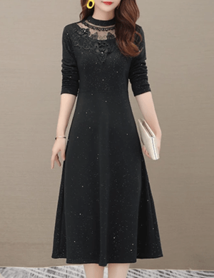 Rochie midi neagra cu imprimeu cu sclipici si dantela