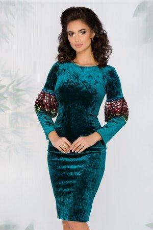 Rochie turcoaz eleganta din catifea cu insertii din tull
