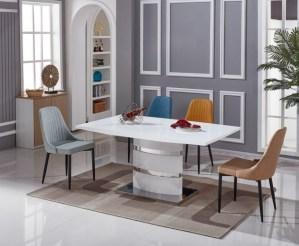 Set masa din MDF si metal Stain White cu 6 scaune Vanda Cream