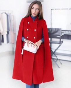 Capa dama rosie lunga din stofa