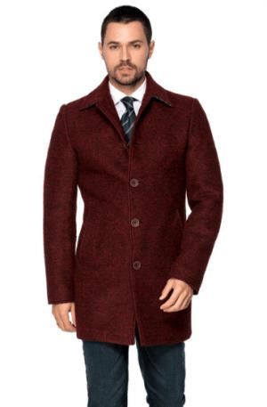 Palton barbatesc bordo captuseala satinata doua buzunare laterale inserate