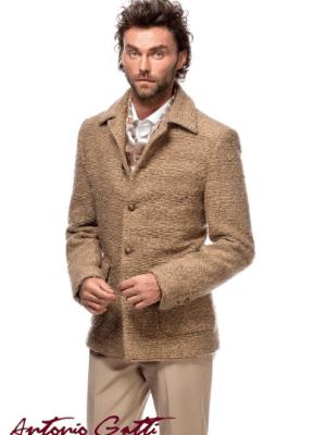 Palton barbatesc crem casual scurt din stofa bucle
