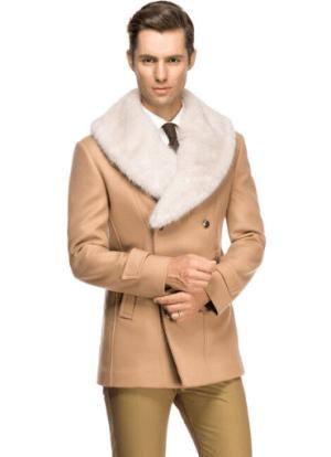 Palton barbatesc cu guler detasabil de blana