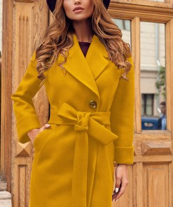 Palton dama mustar scurt cambrat cu revere din stofa