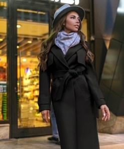 Palton dama negru lung cu cordon si revere din stofa