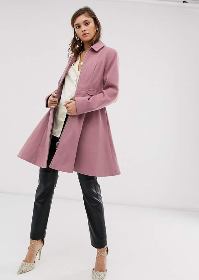 Palton dama roz prafuit scurt in clos cu fermoar Asos