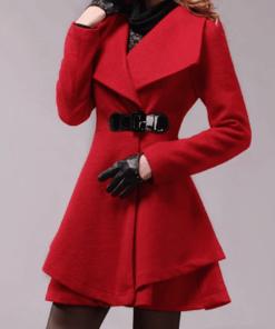 Palton scurt in clos din imitatie din lana si curea din piele ecologica