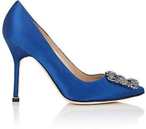Pantofi cu toc din satin albastru royal Manolo Blahnik