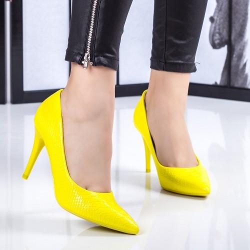 Pantofi dama cu toc galbeni