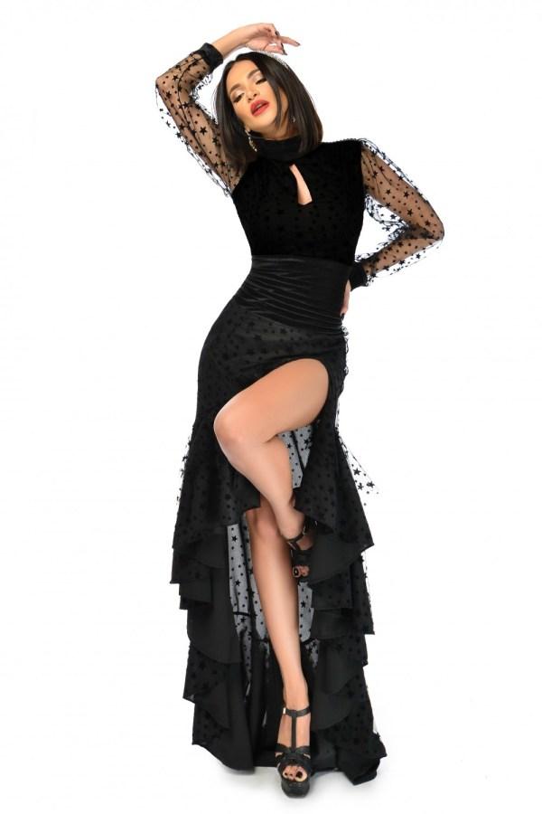 Rochie dama asimetrica confectionata dintr-un tulle fin cu stelute