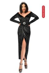 Rochie de ocazie eleganta asimetrica neagra din catifea cu decolteu in V