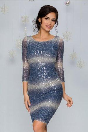 Rochie de ocazie eleganta conica midi cu paiete albastre si argintii