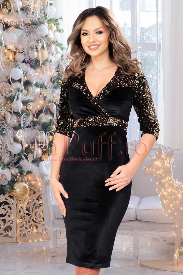 Rochie de ocazie eleganta midi cambrata din catifea neagra cu paiete aurii