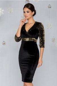Rochie de ocazie eleganta neagra din catifea cu paiete aurii si decolteu V