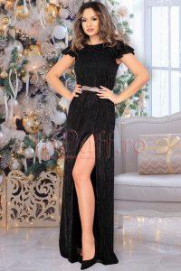 Rochie de ocazie lunga neagra din crepe cu fir irizant si despicatura