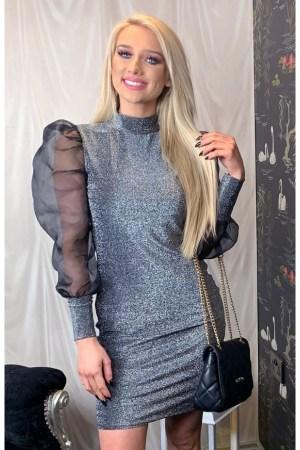 Rochie de seara eleganta in nuante de gri slim cu manecile bufante