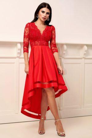 Rochie de seara rosie asimetrica in clos cu dantela la bust si maneca