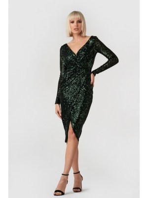 Rochie de seara verde decupata la spate