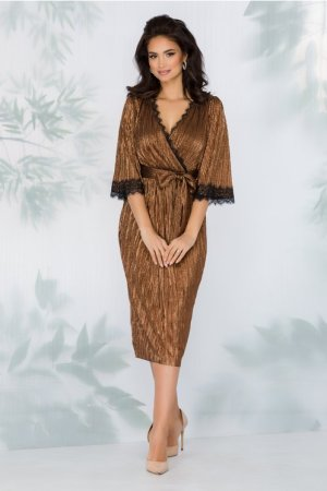 Rochie eleganta de ocazie din lurex caramiziu stralucitor