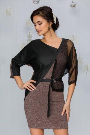 Rochie eleganta gri rose scurta cu aplicatie din piele ecologica si cordon