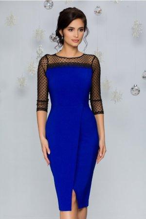 Rochie eleganta midi conica albastra accesorizata cu tull cu buline