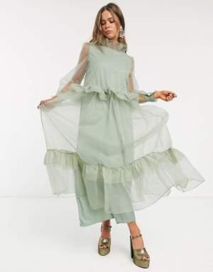 Rochie eleganta midi cu volane din organza Asos