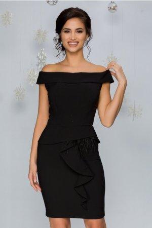Rochie eleganta neagra conica midi cu peplum si insertii din pene
