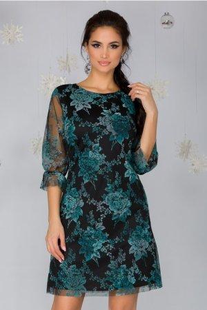 Rochie eleganta neagra cu imprimeu floral verde si maneci trei sferturi