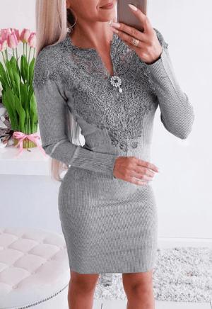 Rochie gri conica eleganta cu aplicatii din dantela la bust