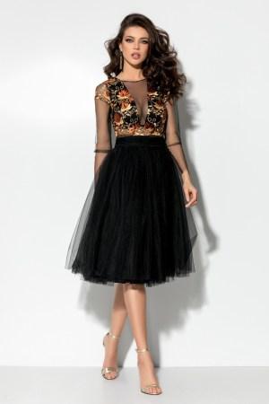 Rochie midi din tul negru