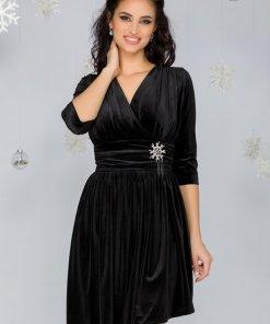 Rochie neagra din catifea cu detaliu tip bijuterie in talie