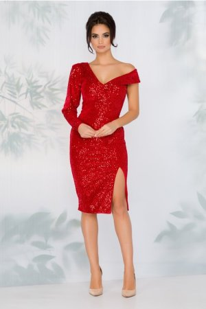 Rochie rosie eleganta din catifea cu paiete decolteu in v in spate si fata