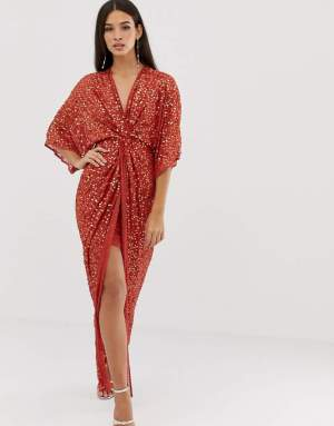 Rochie rosie tip kimono eleganta cu paiete Asos