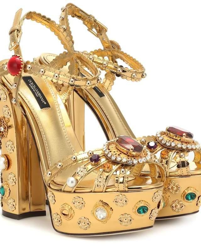 Sandale aurii cu toc inalt din piele cu strasuri stralucitoare Dolce&Gabanna